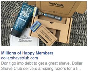 Capture d'écran d'une publicité dans la colonne de droite sur Facebook