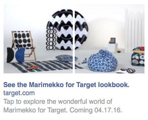 Capture d'écran de l'annonce carrousel de flux Facebook