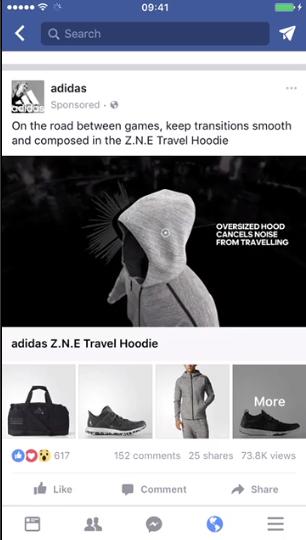Capture d'écran d'une annonce de collecte de flux Facebook