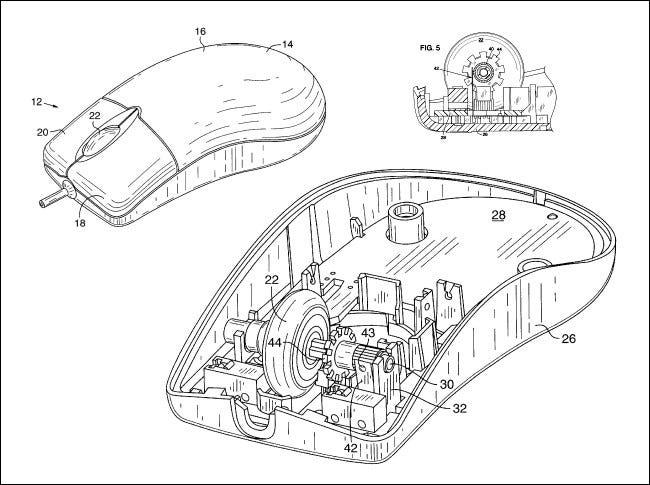 Diagrammes du brevet Intellimouse de Microsoft.