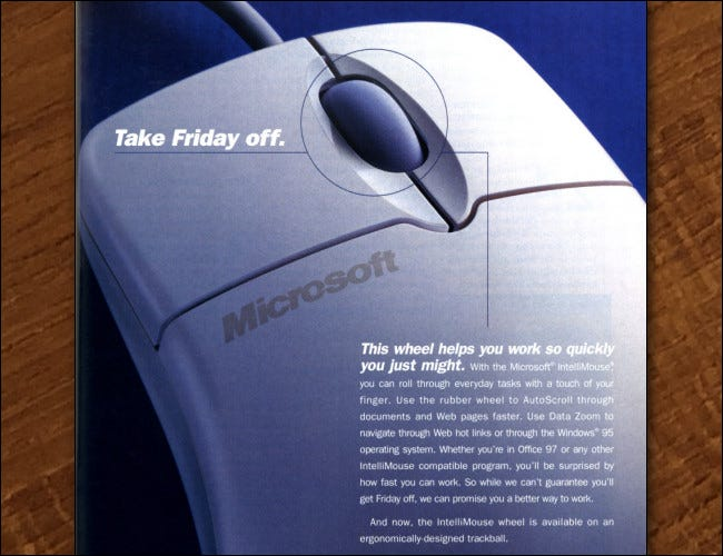 Fait partie d'une publicité dans un magazine de 1997 pour l'Intellimouse.