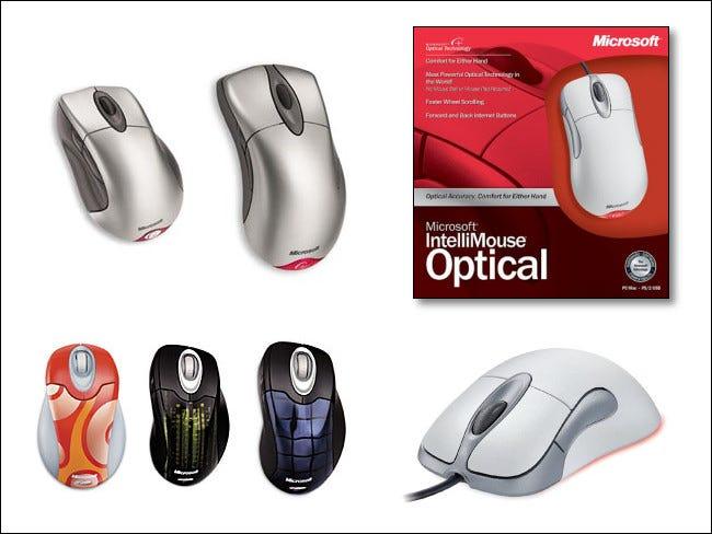 Divers modèles de souris Microsoft Intellimouse au fil du temps.