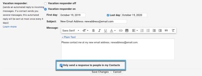Comment quitter Gmail Reclaim Privacy Set Autoresponder