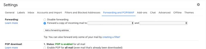 Comment quitter Gmail Reclaim Confidentialité Définir l'adresse de transfert 2