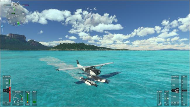 Un hydravion atterrissant sur l'eau dans Microsoft Flight Simulator.