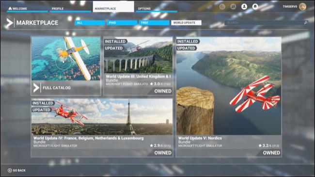 Le marché Microsoft Flight Simulator.