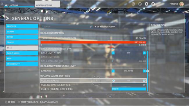 L'écran Options générales dans Microsoft Flight Simulator.