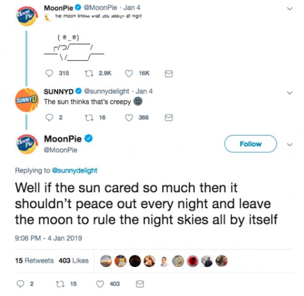 Interaction client MoonPie sur Twitter
