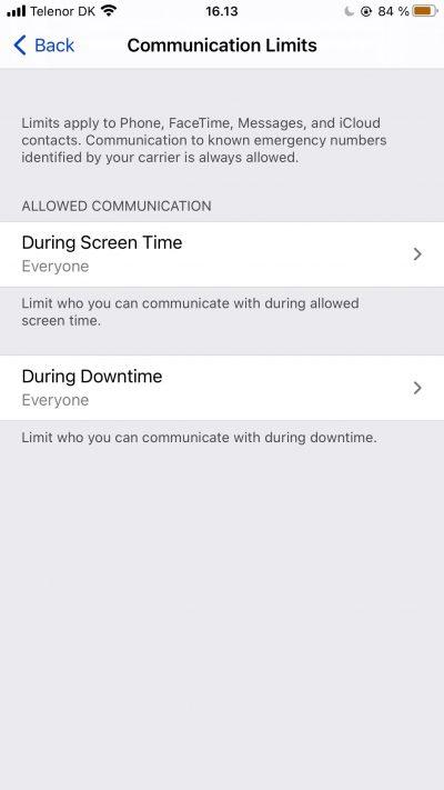 Capture d'écran montrant les limites de communication Screen Time