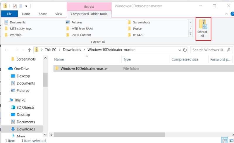 Supprimer Bloatware Windows Extraire tout