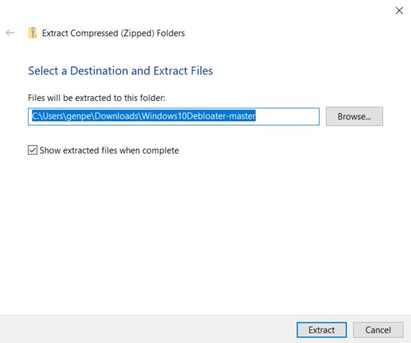 Supprimer la destination d'extraction de Bloatware Windows
