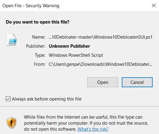 Supprimer le fichier ouvert de Windows Bloatware