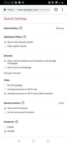 Paramètres de recherche d'applications Google