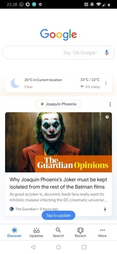 Page d'accueil de l'application Google