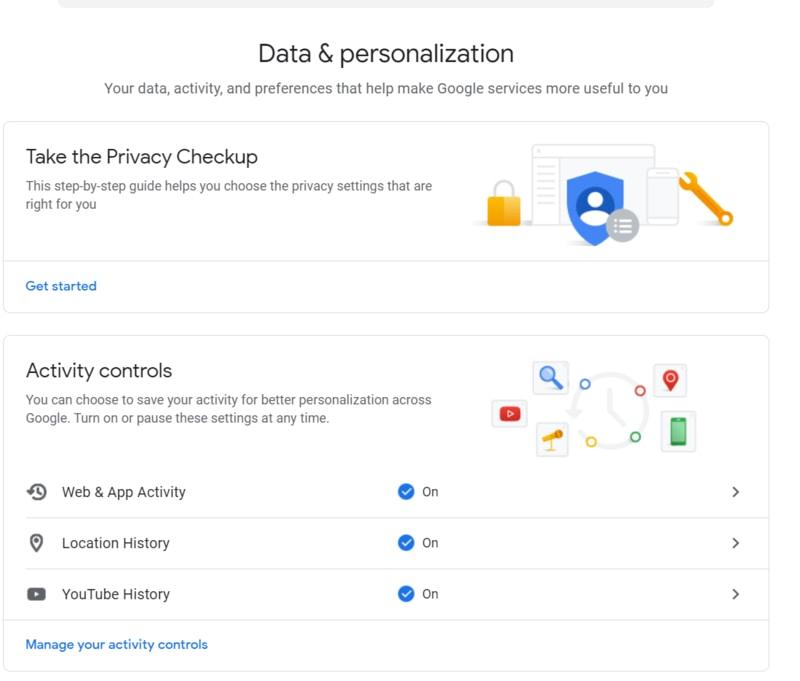 Section Données et personnalisation Google