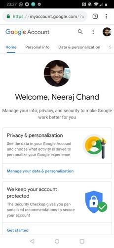 Page de téléphone du compte Google