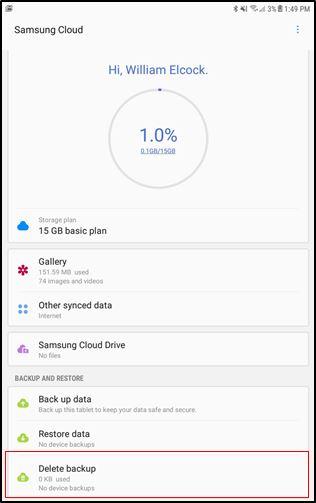 Samsung Cloud Supprimer la sauvegarde