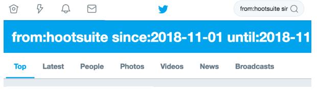 barre bleue résultats de recherche Twitter