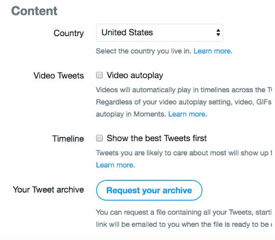 Écran de demande d'archives sur Twitter