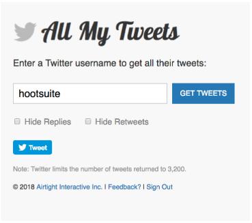 barre de recherche de tous mes tweets