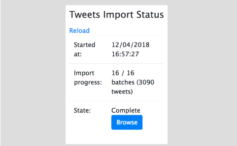 Page de statut d'importation du Tweet Cardigan