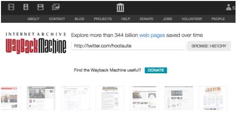 page d'accueil de la machine wayback