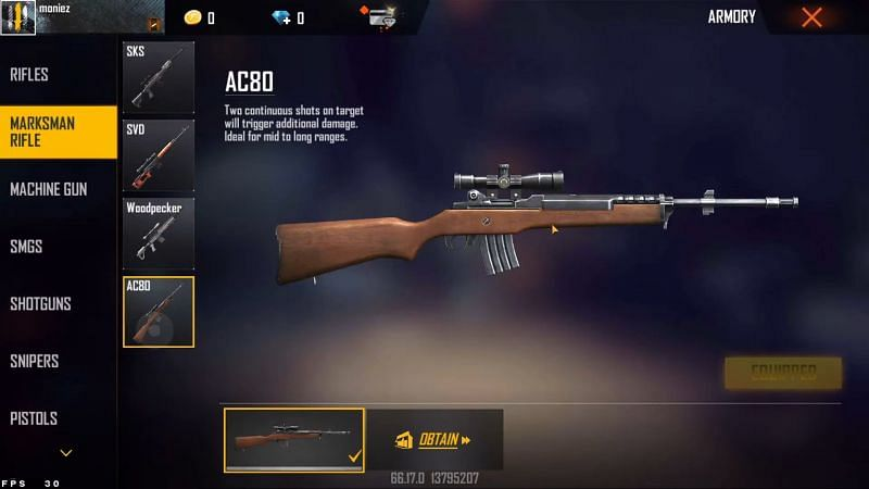 AC80 est la nouvelle arme disponible dans le serveur Advance (Image via Moniez Gaming)