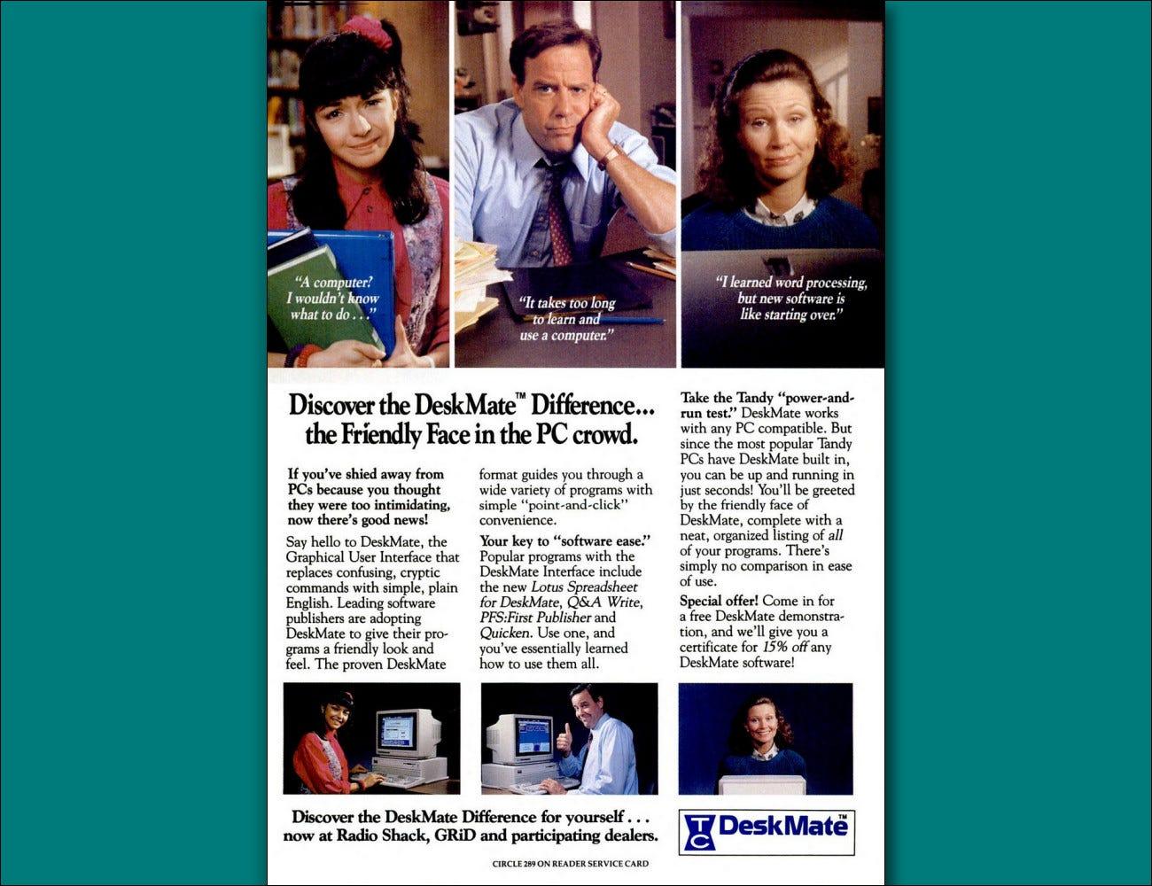 Une publicité dans un magazine de 1989 pour Tandy DeskMate.