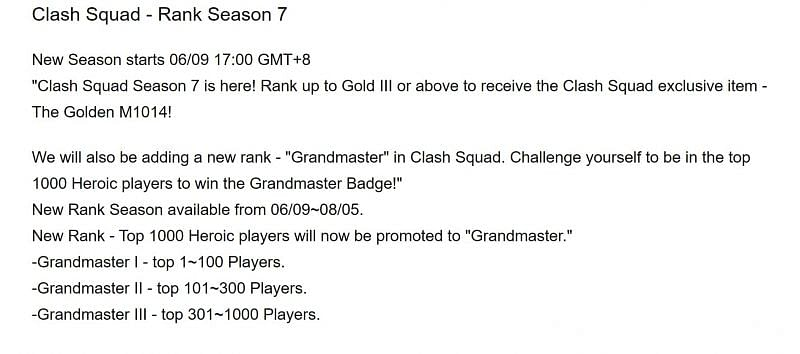 La saison 7 de Clash Squad se termine le 5 août 2021 (Image via Free Fire)