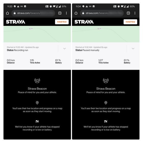 voir les statistiques détaillées - Partager l'emplacement en direct Strava