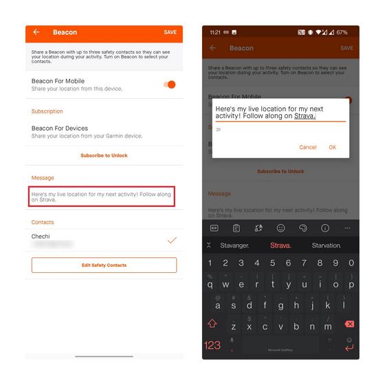 modifier le texte d'invitation strava