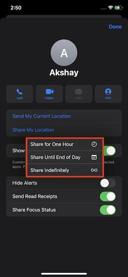 Choisissez la durée pendant laquelle vous souhaitez partager votre position en direct - Partagez votre position en direct dans iMessage sur iPhone