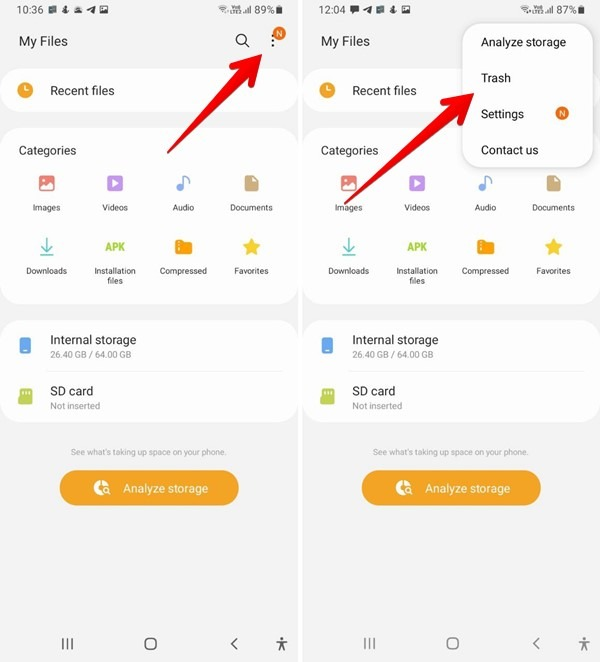 Android Téléchargements Samsung Files Effacer la corbeille