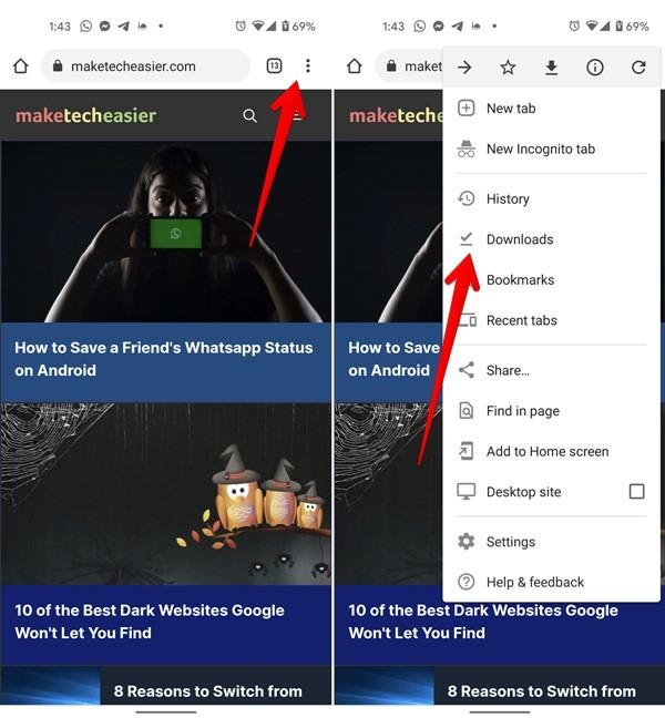 Téléchargements Android Supprimer Chrome