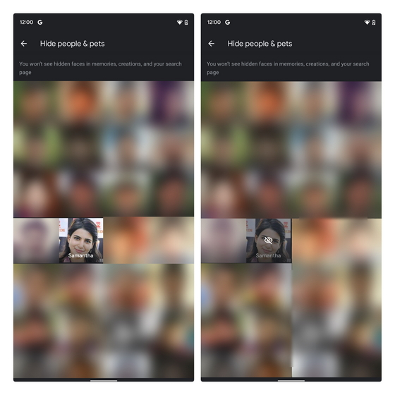 cacher les gens des souvenirs de google photos