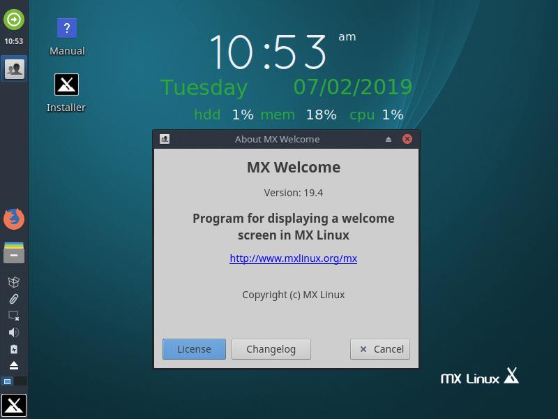 Examen de Mx Linux À propos