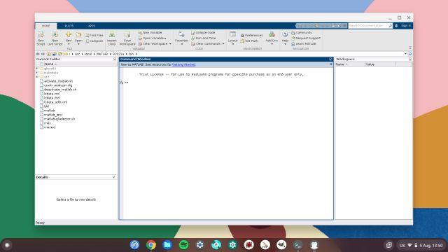 matlab s'exécutant sur linux dans Chromebook