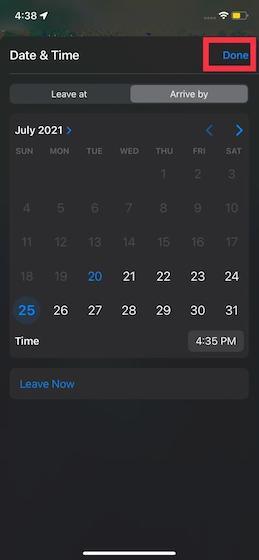Comment définir les heures de départ et d'arrivée dans Apple Maps