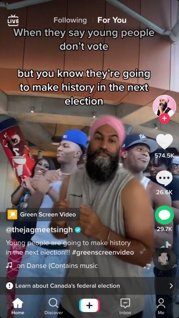 Vidéo TikTok des élections de Jagmeet Singh