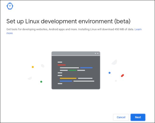 Écran de confirmation de l'environnement de développement Linux sur un Chromebook