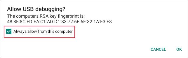 Fenêtre de confirmation pour autoriser le débogage USB sur un Chromebook