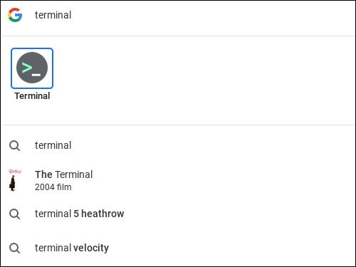 Rechercher le mot terminal sur un Chromebook