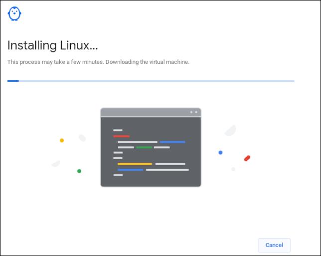 Barre de progression du téléchargement Linux sur un Chromebook
