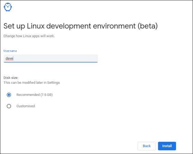 Définir un nom d'utilisateur Linux sur un Chromebook