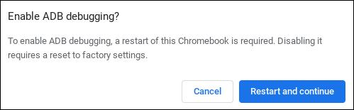 Écran de confirmation pour activer le débogage Android sur un Chromebook