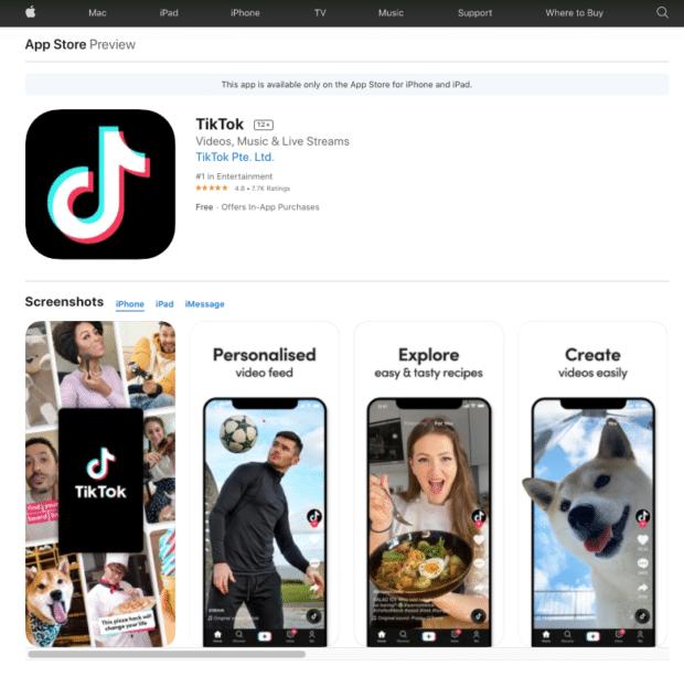 Aperçu de la boutique d'applications TikTok
