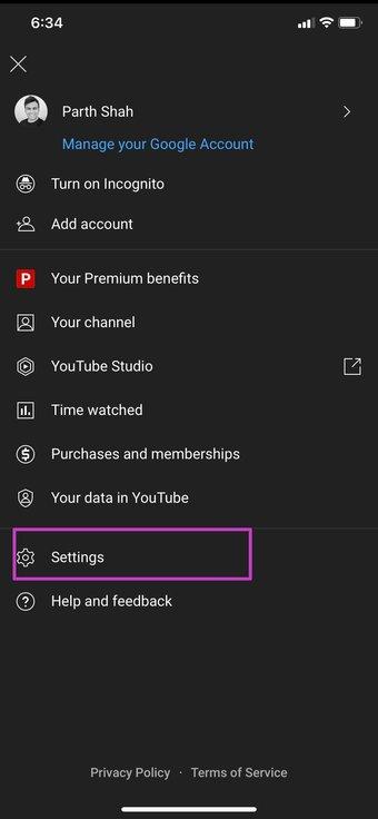 Sélectionnez les paramètres YouTube
