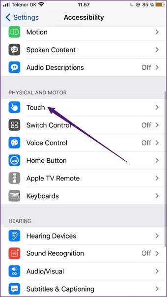 Accessibilité tactile de l'iPhone