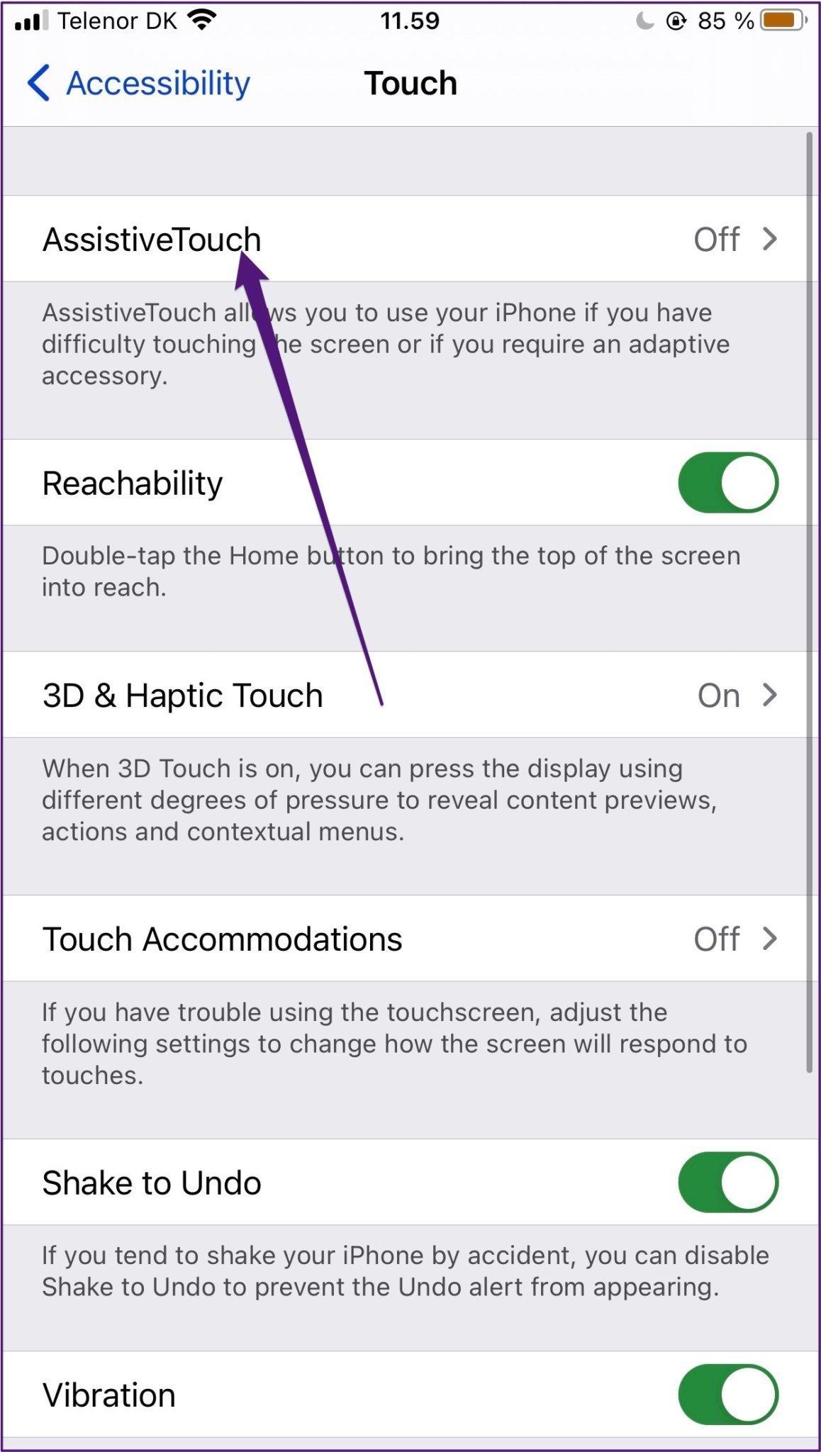 Iphone activer et désactiver l'assistance tactile