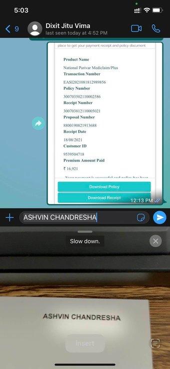 Texte en direct dans WhatsApp